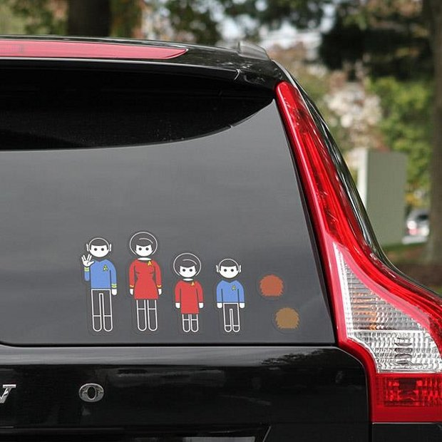Star Trek Stick Figure Decals For Your Car Family Of Four To Beam - Decals for your car