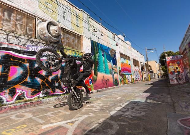 zero fx stealthfighter electric motorcycle wheelie photo