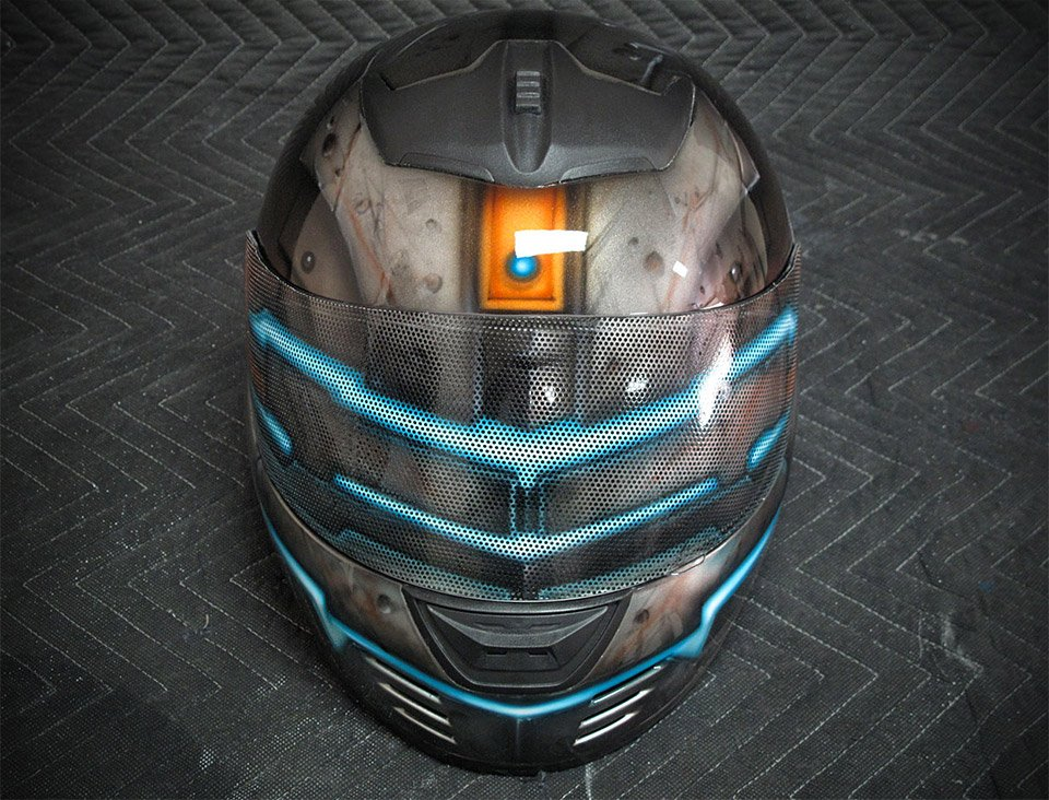 dead space motorcycle helmet lets you hide your emotions like isaac clarke