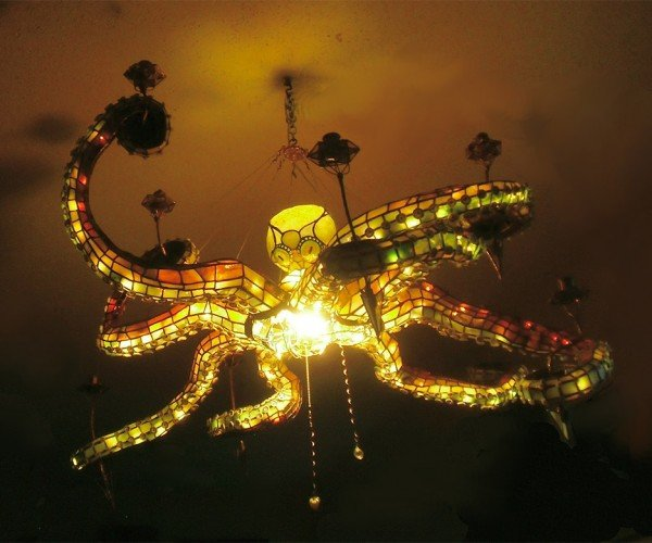 Stained Glass Octopus Chandelier: Eight Arms to Light You