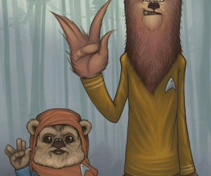 Chewbacca and Ewok Pal Around as Star Trek Officers: Star Trek Wars