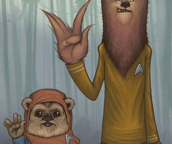 Chewbacca and Ewok Pal Around as Star Trek Officers: Star Trek Wars