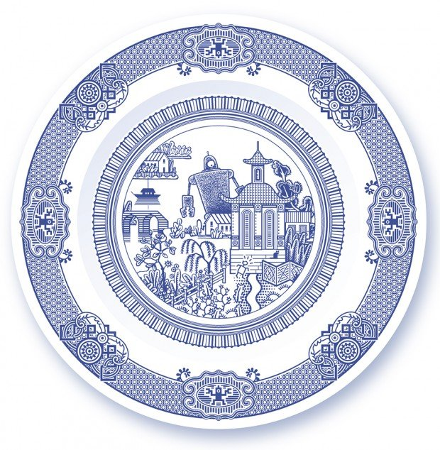 calamityware willow pattern dinner plates by don moyer 620x634