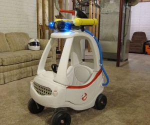 Uncle Makes His Nephew a Custom Ghostbusters Ecto-1 Cozy Coupe