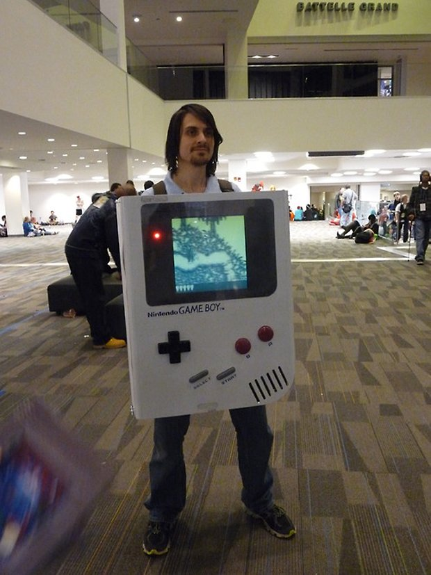 game boy costume with cartridges powered by raspberry pi