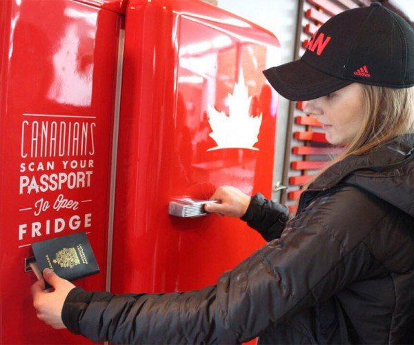 Molson Canadian Beer Fridge Locks out Anyone Not from Canada
