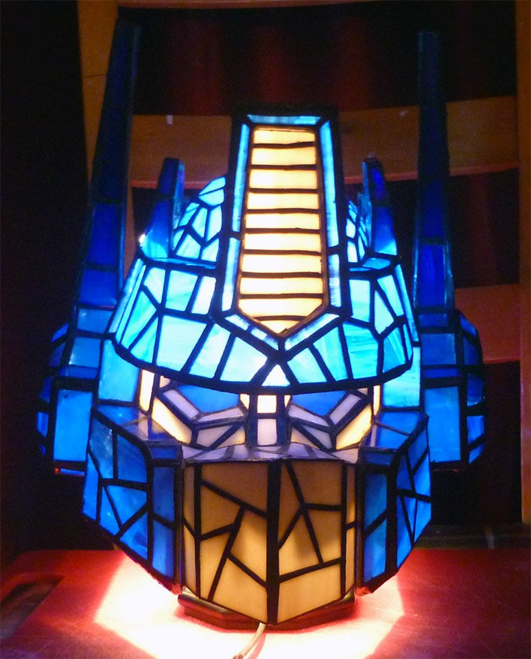 Optimus Prime Stained Glass Lamp Light Bulb In Disguise