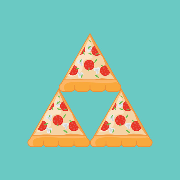 tri pizza legend of zelda triforce graphic by Monstruonauta