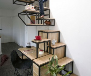 This Desk Has Its Own Stairs, Shelves, and a Cupboard