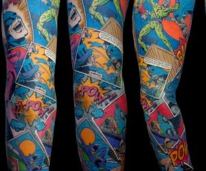 Awesome Batman Sleeve Tattoo: Where Does He Get That Wonderful Ink?