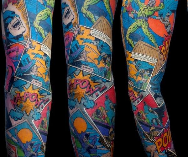 Awesome Batman Sleeve Tattoo: Where Does He Get That Wonderful Ink?