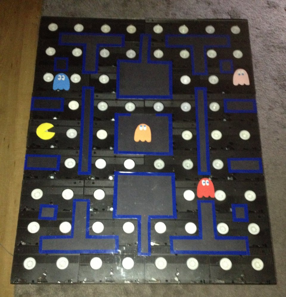 pac-man coffee table made from old vhs tapes: be kind, rewakka