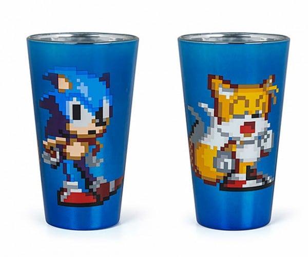 Sonic The Hedgehog Pint Glasses: 16 Ounces, 16 Bits