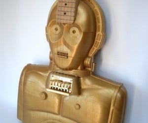 C-3PO Electric Guitar Made from Action Figure Case