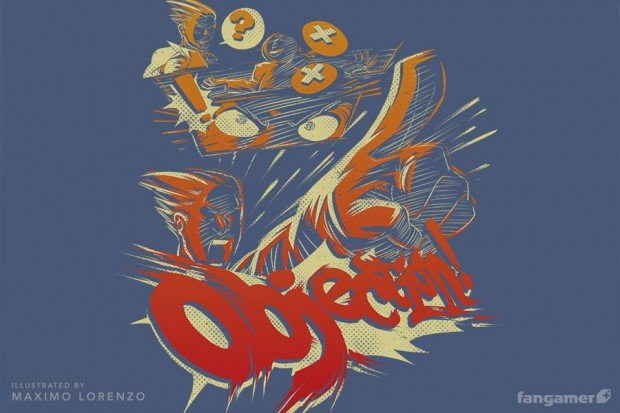 ace attorney objection t shirt by maximo lorenzo and fangamer 2 620x413