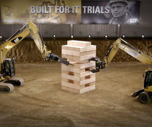 Excavators Play Jenga with 600 Pound Blocks