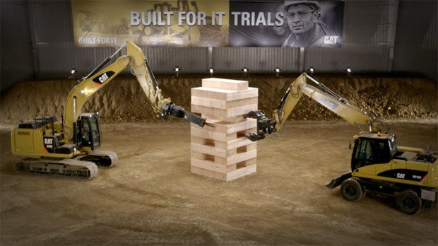Excavators Play Jenga with 600 Pound Blocks