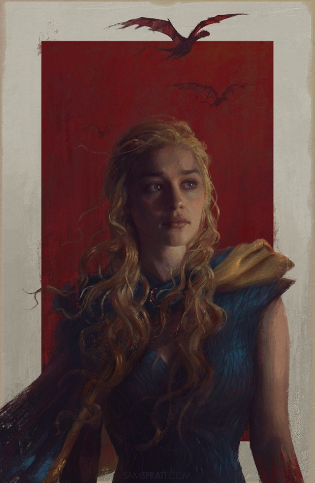 daenerys targaryen painting by sam spratt 1 620x950