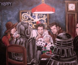 Doctor Who Doctors Playing Poker