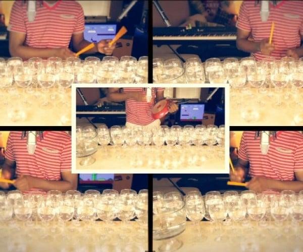 Mario Bros. Theme Music Played on Wine Glasses