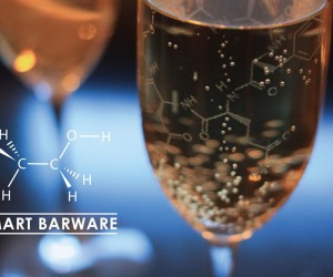 Champagne Glasses Etched with Love Hormones: Molecular Flutes