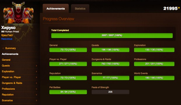 I'm Guessing He Is Single: WoW Player Completes All 2057 Game Achievements