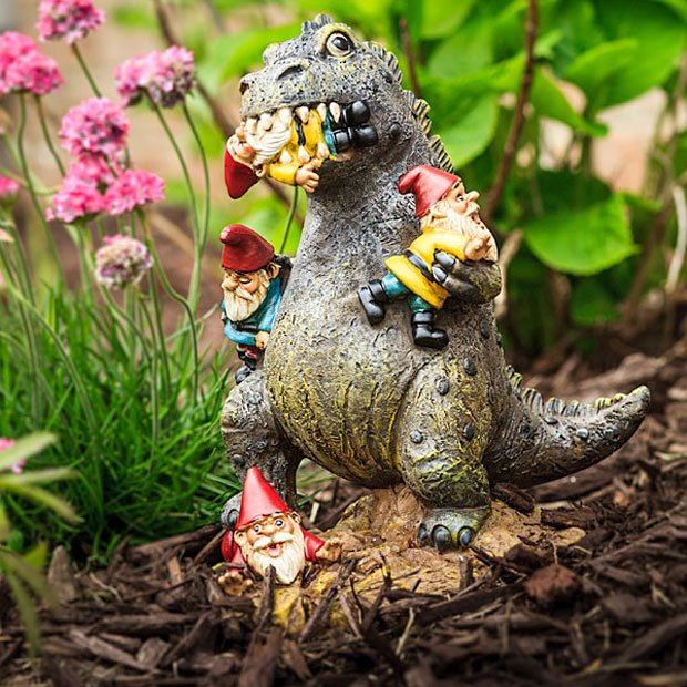 garden gnome eating kaiju is your garden protector technabob. Black Bedroom Furniture Sets. Home Design Ideas