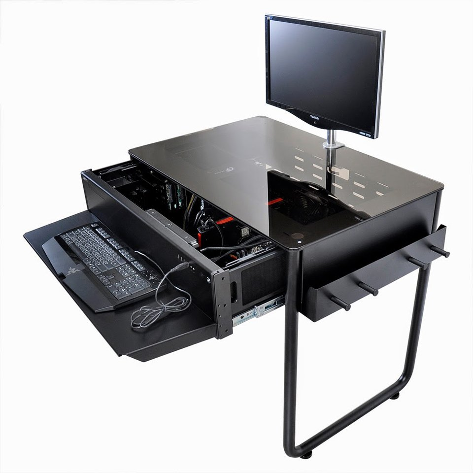 Lian li desk pc cases finalized augmented furniture for Mini bureau informatique