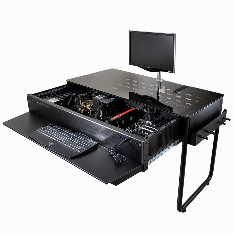 lian li desk pc cases finalized augmented furniture technabob. Black Bedroom Furniture Sets. Home Design Ideas