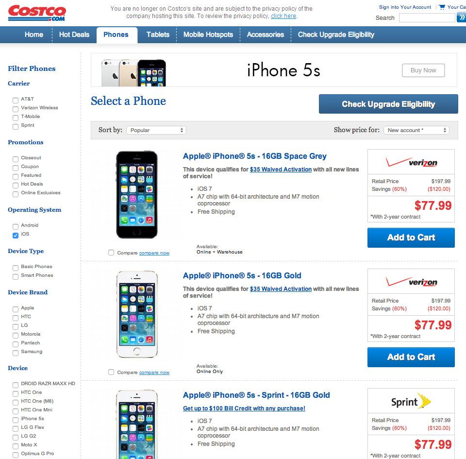 Costco iphone deals