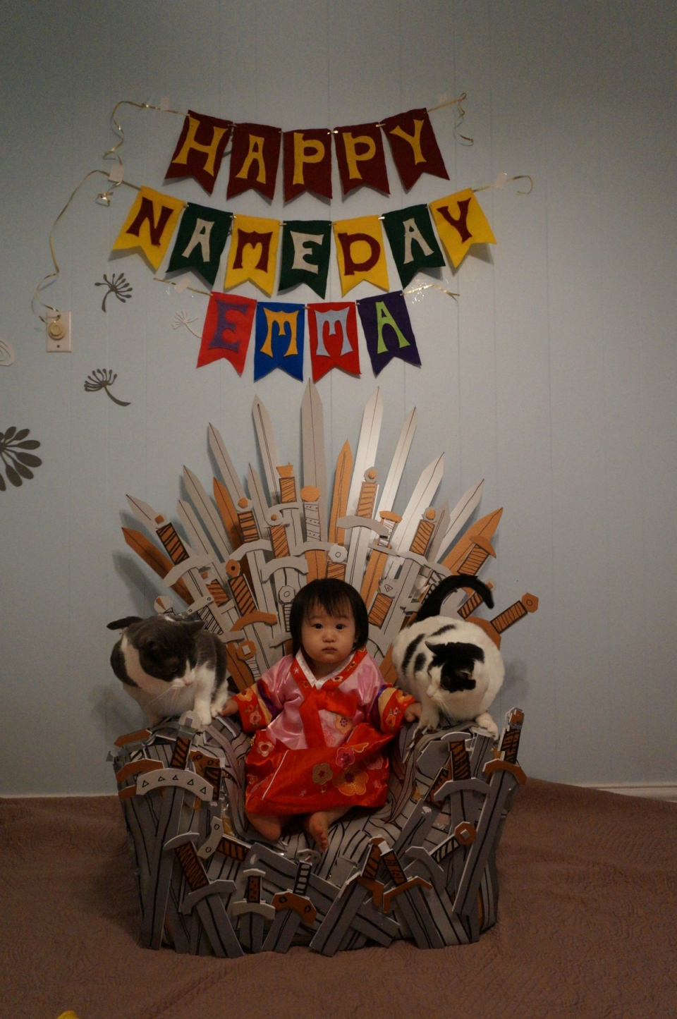 one year old wins the iron throne at birthday party