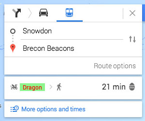"Google Maps Offers ""Dragon"" Transport Easter Egg"