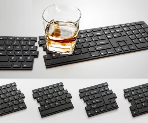 Keyboard Coasters: Don't Drink and Type