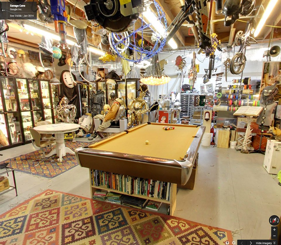 Man Cave Gadgets : Adam savage s awesome man cave hits google street view