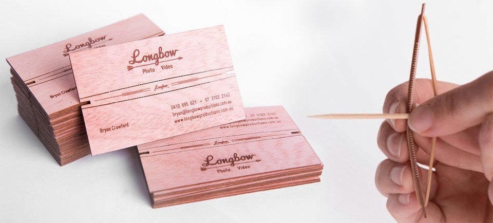 Worlds coolest business cards turn into a tiny longbow technabob the business cards appear to be made out of thin wood sheets with etched words and numbers the cool part is that you can remove the sides to create a thin colourmoves