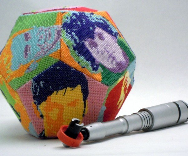 Cross-stitch Doctor Who 12-Sided Die is a Doctor-Decahedron