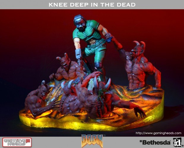 doom knee deep in the dead cover art diorama by gaming heads 2 620x500