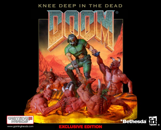 doom knee deep in the dead cover art diorama by gaming heads 620x500