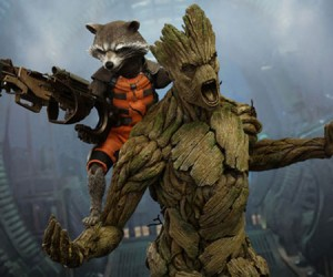 Groot and Rocket Raccoon Collectible Figures: Guardians of Your Cubicle