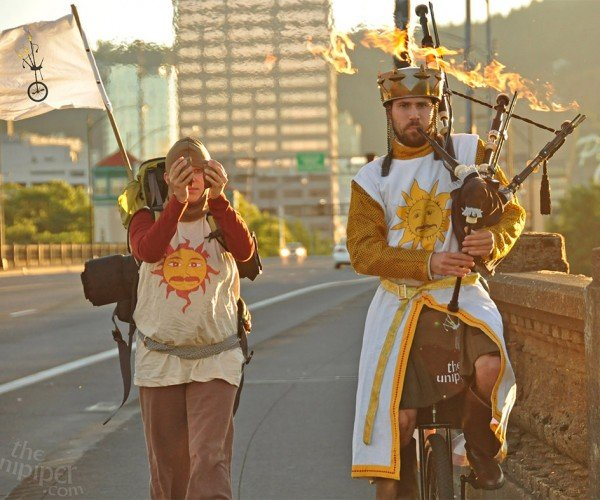 Monty Python's King Arthur on a Unicycle with Flaming Bagpipes…YES!