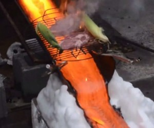 Rib Eye Steak Grilled with 2,000-degree Molten Lava