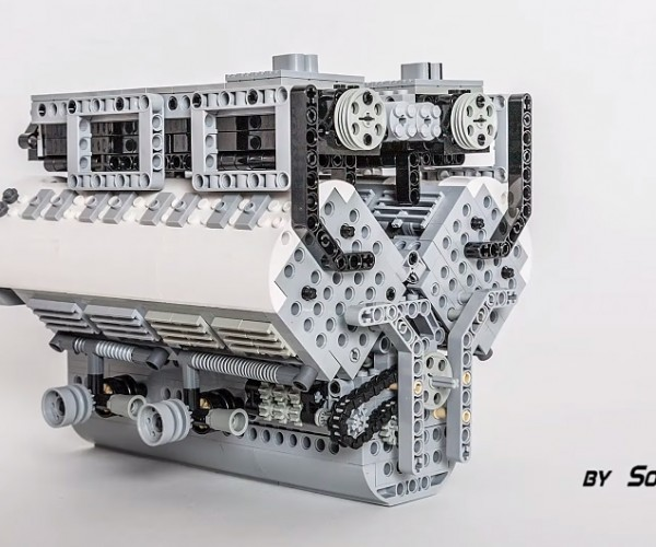 LEGO W16 Bugatti Veyron Engine Scale Model: 1,001 Studpower