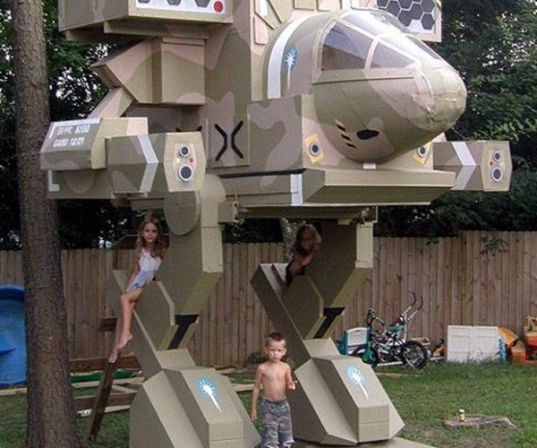 Dad Builds Battletech Treehouse for His Kids