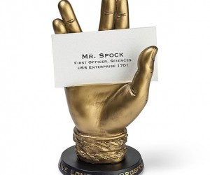 Bronze Spock Business Card Holder Logically Holds Cards