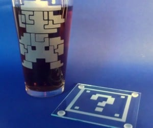 8-Bit Mario Pint Glass and Question Mark Coaster Set: Pint-endo