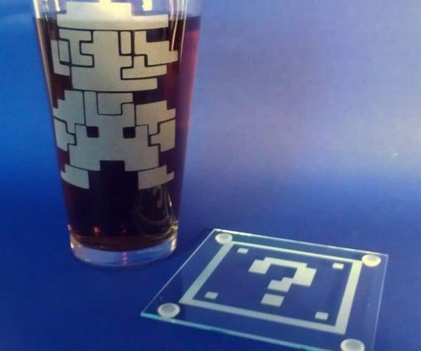 8-Bit Mario Pint Glass and Question Mark Coaster Set: Pint-endo