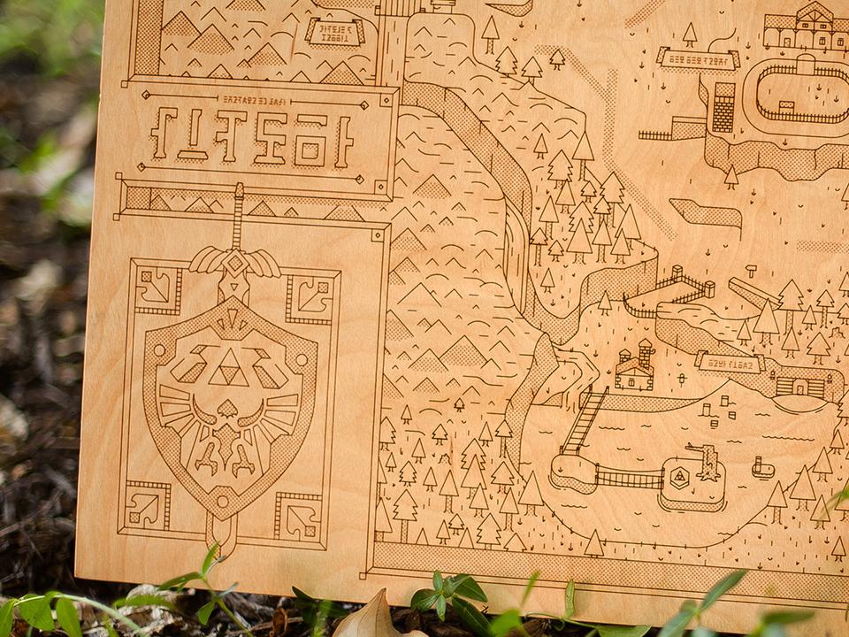 Cool Wood Toys : Legend of zelda wooden hyrule map dekur technabob