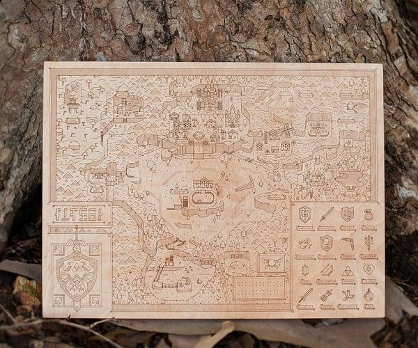Legend of Zelda Wooden Hyrule Map: Dekur