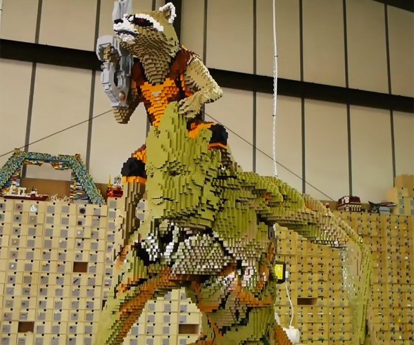 Life-size Groot and Rocket Raccoon LEGO Sculpture Guards the Galaxy