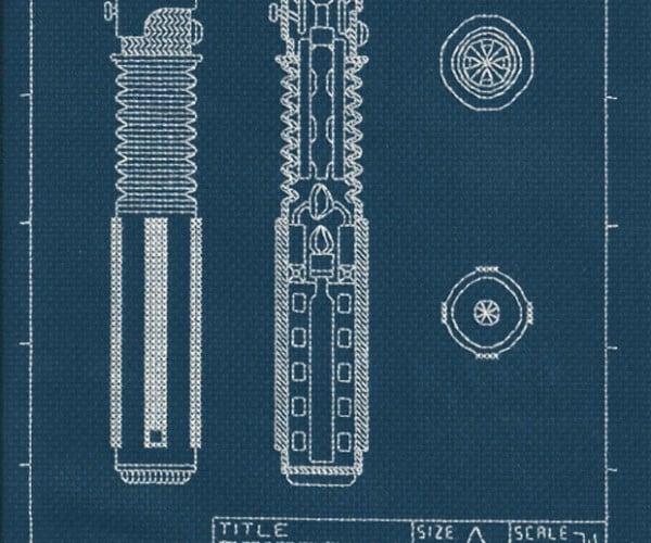 Lightsaber Blueprint Cross-stitch: Needle-aided Design